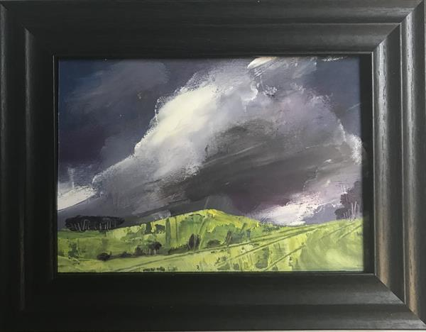 Storms begin the blow - spring rain ( original oil in frame ) by Sarah Gill