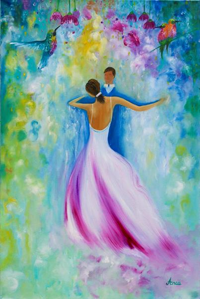 """Romance"" couple dancing, humming birds, dancers painting by Florentina(anca)  popescu"