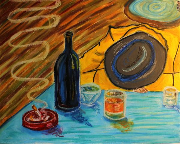 Still Life with Wine Bottle, Cigarette and drunk gentleman