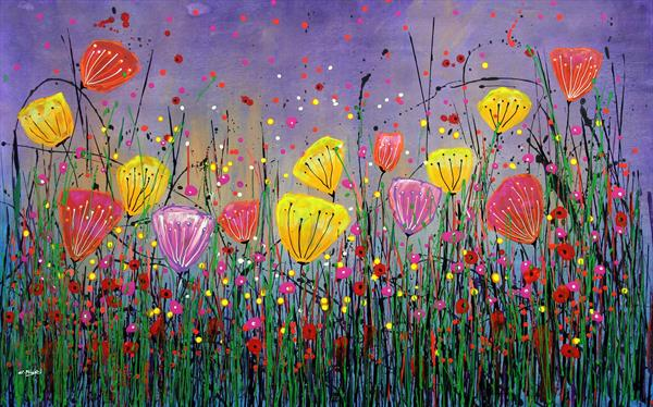Young Folks #8 - Large original floral painting by Cecilia Frigati