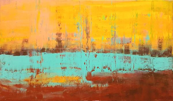 Winter sunset glow - large abstract landscape by Ivana Olbricht