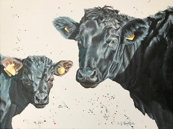 Black Cow and Calf by Lourdes Garcia Quintanilla