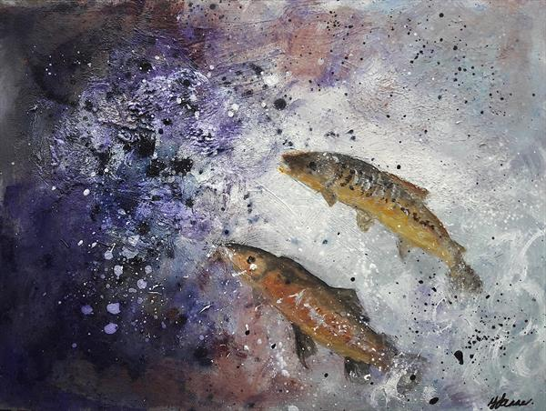 Jumping Salmon by Teresa Tanner