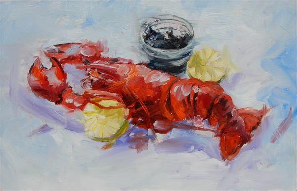 Something for your lunch. Still life with lobster and caviar.