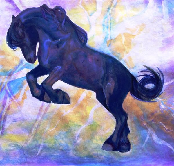 Electric blue horse by Helena Manchip