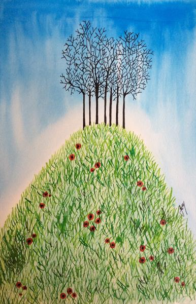 Spinney With Poppies by Jo Mortimer