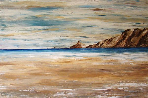 Mumbles Lighthouse and Pier by Rebecca Jory