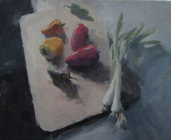 Still Life with Onions and Peppers by Derek Corlett