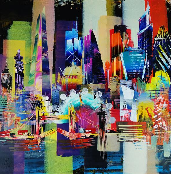 City of London Skyline abstract painting 949 by Eraclis Aristidou