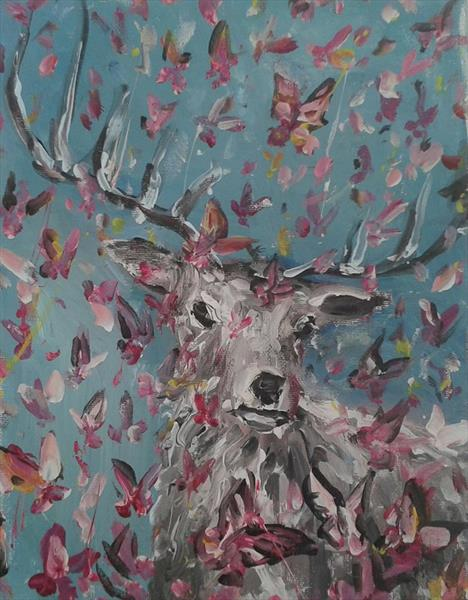 Stag with Butterflies