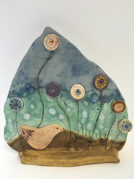 Bird Scene Ceramic Wall Plaque by Julie Anne