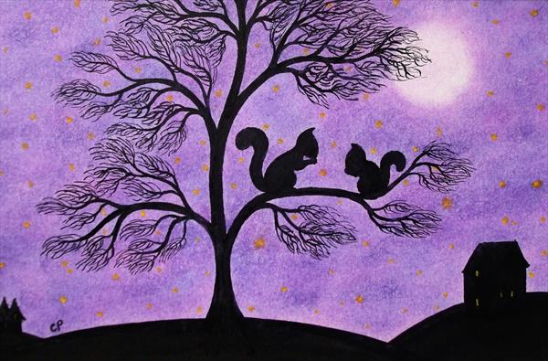 Squirrels in Tree (Framed) by Claudine Peronne