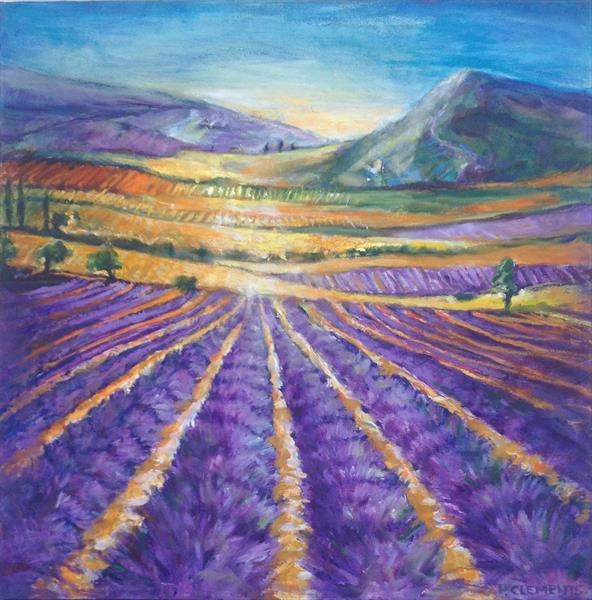 French Lavender Fields and mountains by Patricia Clements
