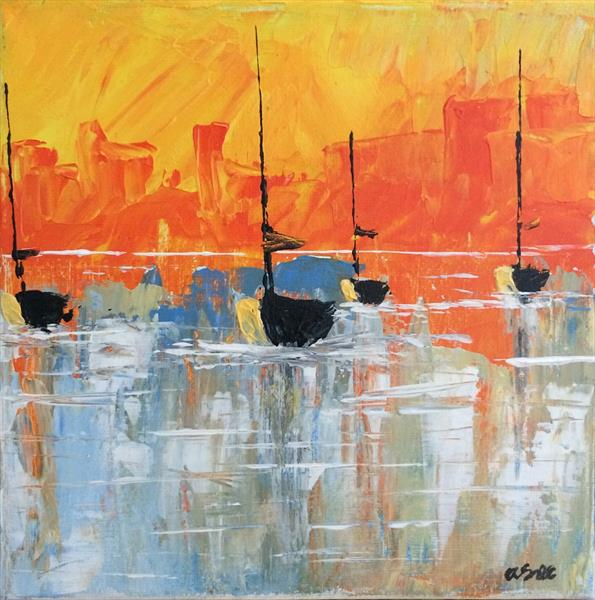 Sunset Harbour with easel by Andrew Snee