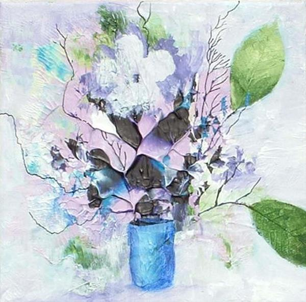 Flowers in a Blue Vase by Cyndy Cmyth