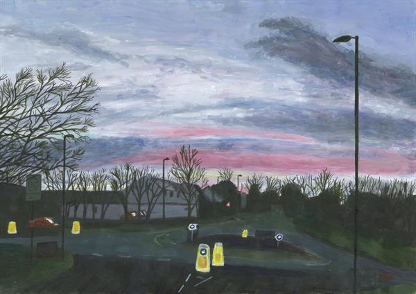 Sanderspool Cross roundabout, South Brent, autumn sunrise by John Van Der Kiste