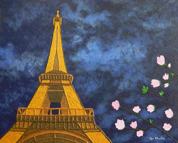 Romance in Bloom - Unique location, Eiffel Tower Magnolia flower blossoms,  landscape painting