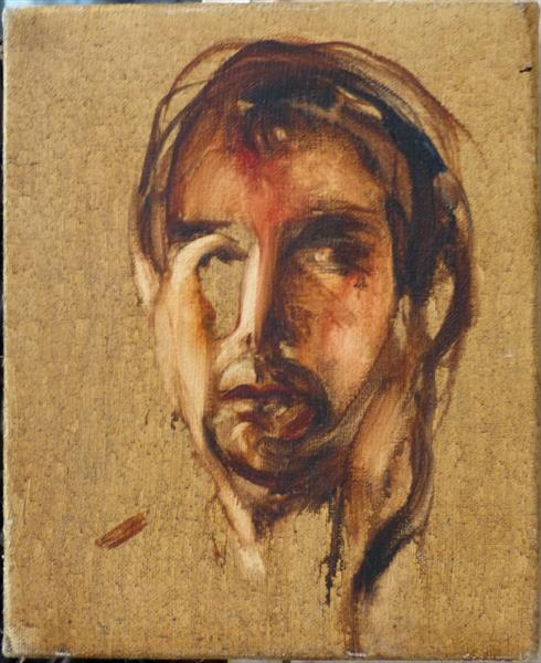 Self-Portrait, tribute to Francis Bacon, oil on canvas 22x27 cm by Frederic Belaubre