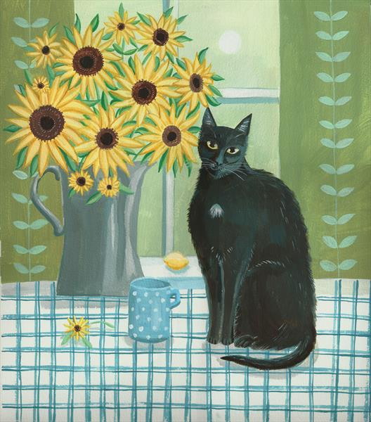 Black Cat with Sunflowers by Mary Stubberfield