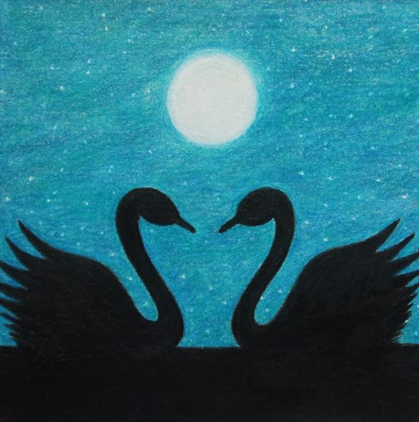 Swans and Moon (Framed) by Claudine Peronne