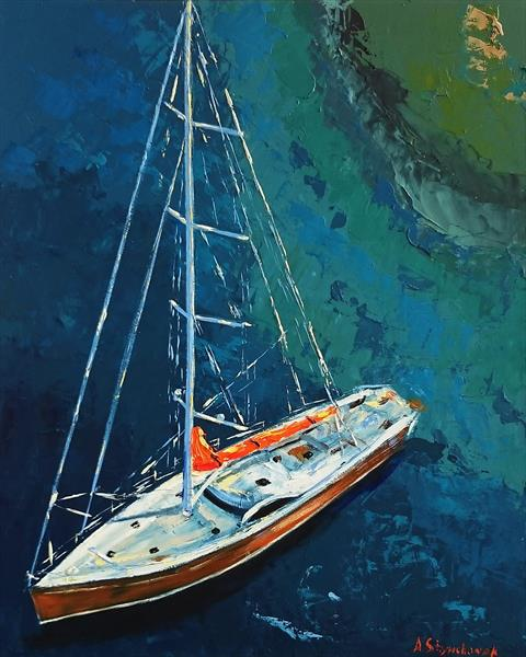 YACHTING; ORIGINAL PALETTE KNIFE OIL PAINTING; FRAMED by Alena Shymchonak