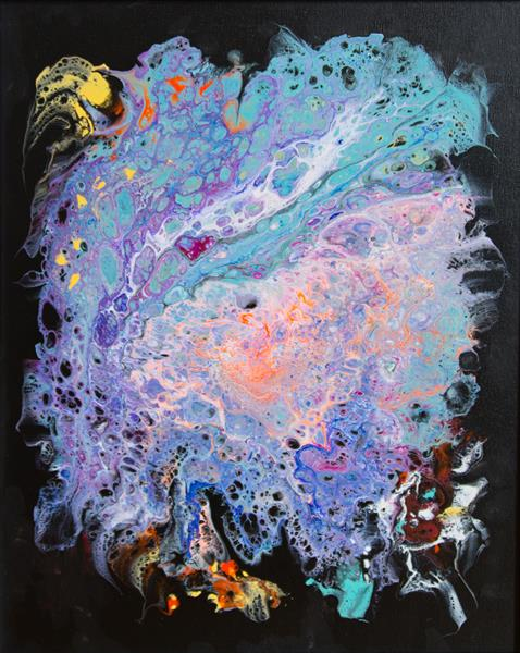 Abstract acrylic pouring at black  by Inna Stone