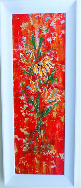 Red Delight framed original painting by Amelle Eley