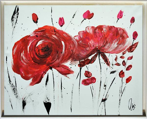 Rosa Rugosa - Abstract Art - Acrylic Painting - Canvas Art - Framed Painting - Abstract Flower  by Edelgard Schroer