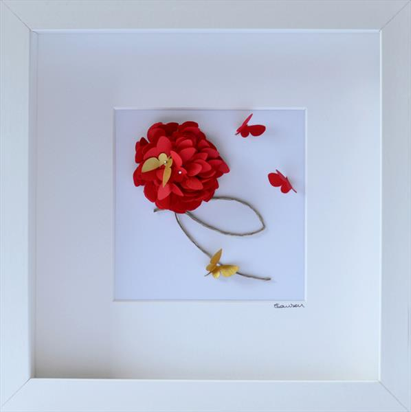 Red Dahlia With Gold Butterfly Accent