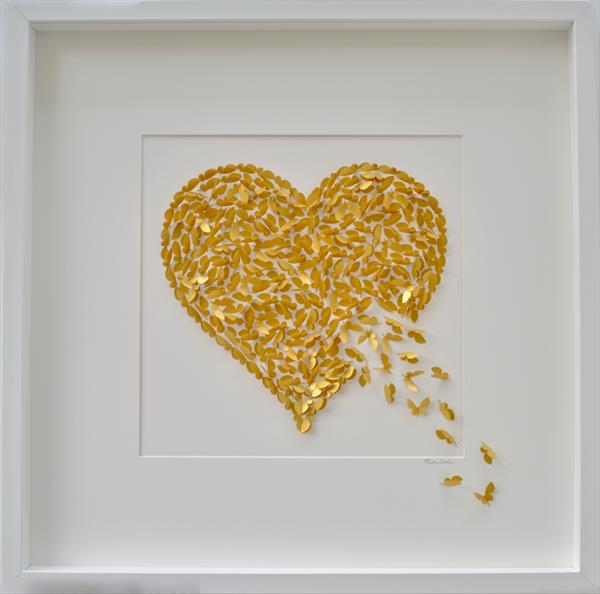 Gold Heart Butterfly Picture by Sara Lawson