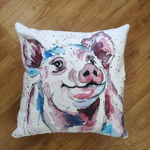 Percival Pig Cotton canvas cushion by Eunice Friend