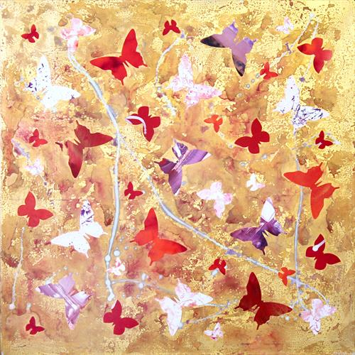 Crimson Waltz ( butterfly collage) by Paresh Nrshinga