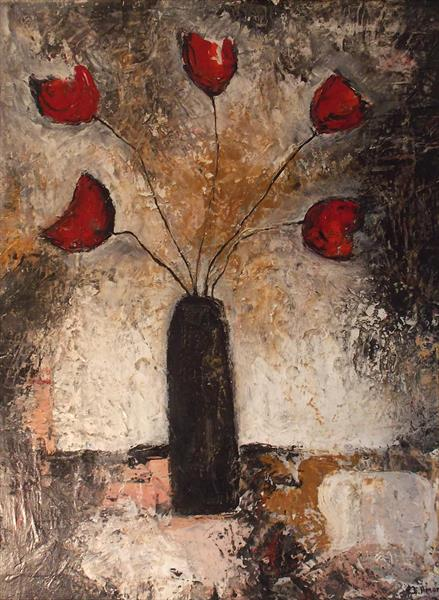 Five Roses in a vase by Isabelle Amante