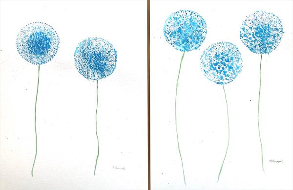 Blue flowers set of 2 (9X12) by Monika Howarth