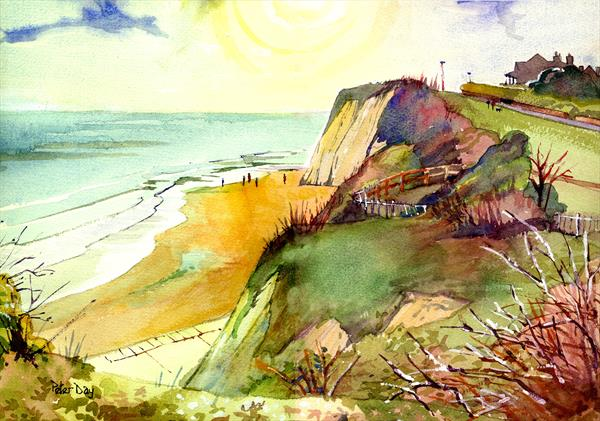 April Mists, Dumpton Gap, Broadstairs, Kent, Beach sea and chalk cliffs by Peter Day