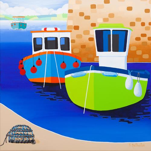 Fishing Boats and Lobster Pot by Shirley Netherton