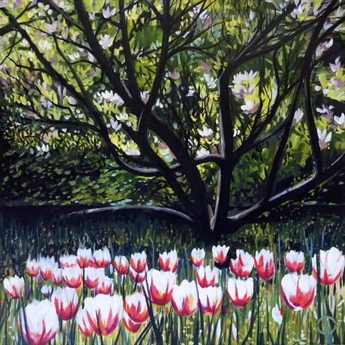 Magnolia And Spring Tulips by Joseph Lynch