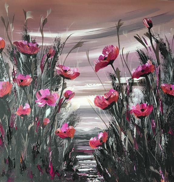Magenta and orange poppies by Marja Brown
