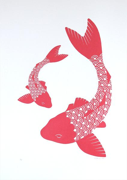 Coral Wave Koi by Kathryn Edwards