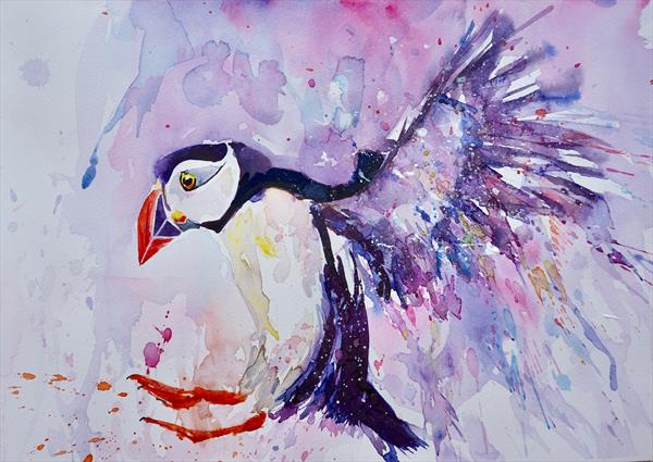 Puffin 'Touch Down' 42x30cm