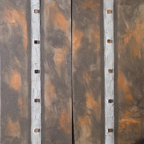 silver stripe rusty long textured abstract painting A255 by Ksavera Art