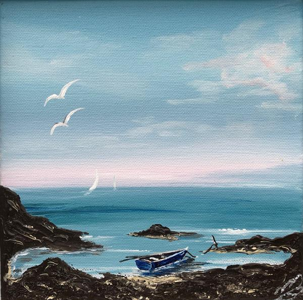 Little boat in the cove by Marja Brown