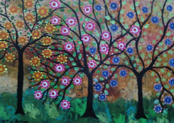 The Colourful Whispering Trees in an autumn Breeze by Casimira Mostyn