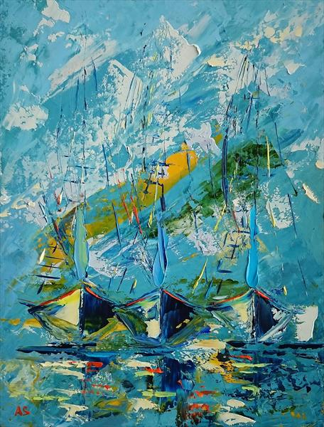 BOATS; ORIGINAL OIL PAINTING; FRAMED by Alena Shymchonak