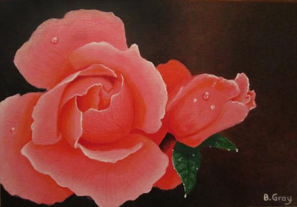 Roses Acrylic painting 10'' x 14'' by Barry John Gray