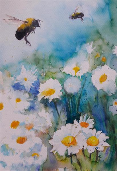 Bumble Bees & Daisies by Teresa Tanner