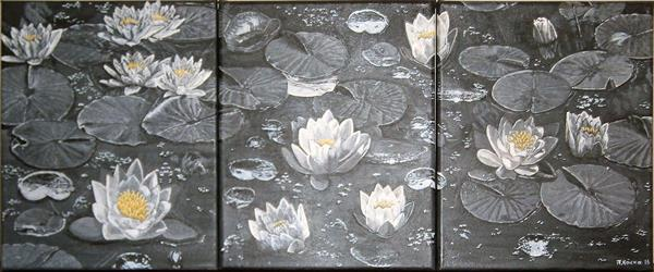 Water lilies in black and white by Paraskevi Kokka