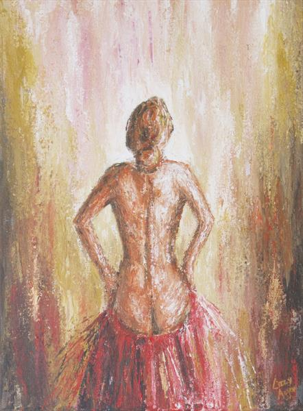 Elegant Back Dancer - Original acrylic painting on canvas by Lizzy Agger