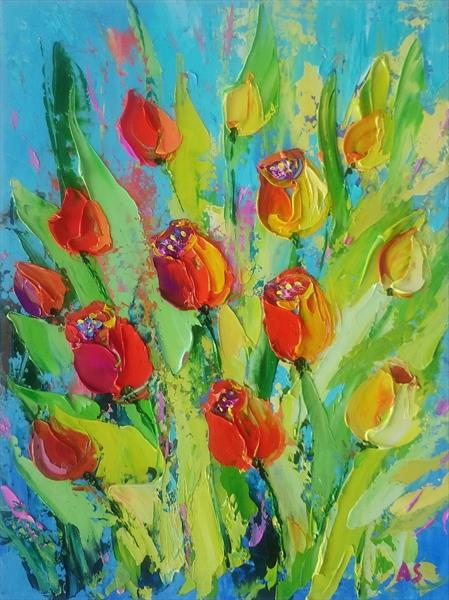 MY FAVORITE TULIPS; ORIGINAL PALETTE KNIFE OIL PAINTING by Alena Shymchonak