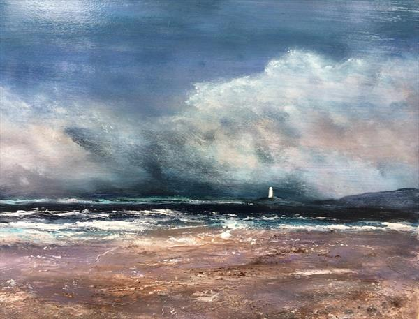 Seascape Large Oil and acrylic Godrevy Cornwall  on card by Maxine Martin